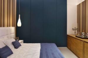 cortina painel azul para quarto do casal