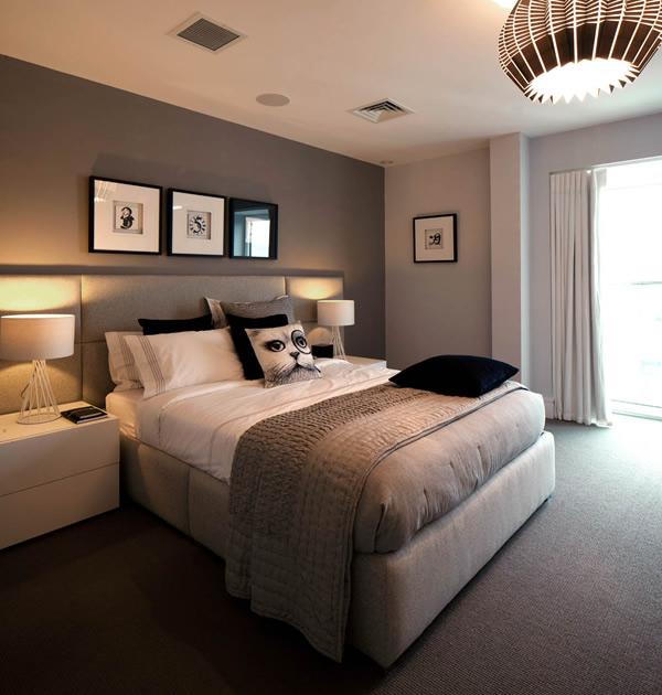 quarto de casal contemporaneo com cortina