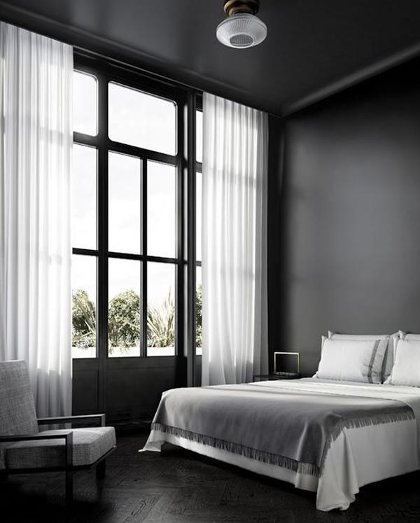 quarto de casal com decoração minimalista